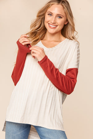 Ribbed Oatmeal & Marsala Color Block Blouse