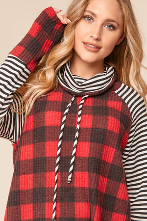 Red & Black Brushed Waffle Plaid Turtleneck Blouse