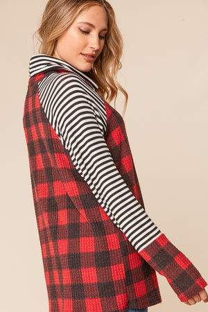 Plus Red & Black Brushed Waffle Plaid Turtleneck Blouse