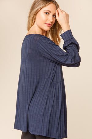 Navy Rib Babydoll Bubble Long Sleeve Blouse