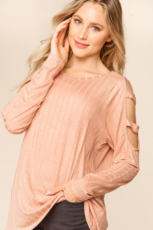 Blush Ribbed Cut Out Sleeve Blouse