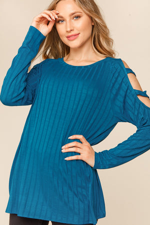 Teal Ribbed Cut Out Sleeve Blouse