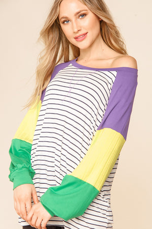 Purple & Ivory Stripe Color Block Raglan Mardi Gras Blouse