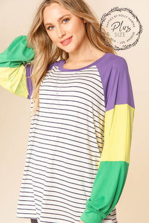 Plus Purple & Ivory Stripe Color Block Raglan Mardi Gras Blouse