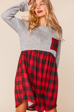 Plus Heather Grey Plaid Babydoll Fit and Flare Dress