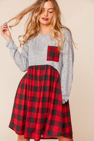 Heather Grey Plaid Babydoll Fit and Flare Dress