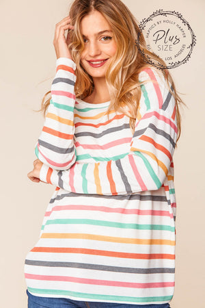 Plus Ivory Multi Color Stripe Thermal Round Neck Blouse