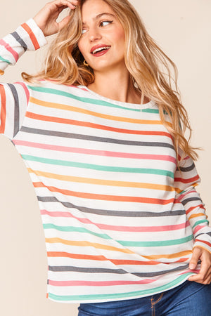 Ivory Multi Color Stripe Thermal Round Neck Blouse