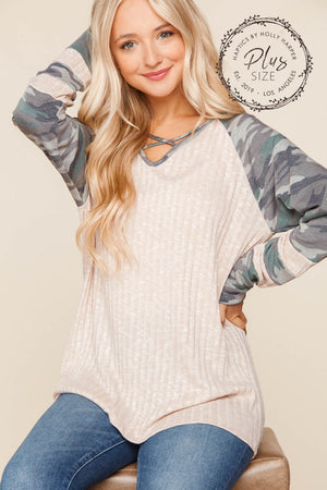 Plus Taupe Olive & Grey Camo Criss Cross Game Day Sleeve Raglan Blouse