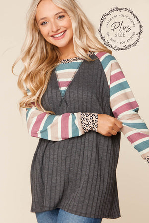 Plus Charcoal Ribbed Stripe Raglan Blouse (3 pcs 1-1-1)