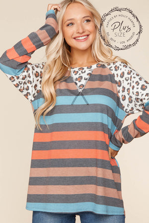 Plus Stripe Animal Color Block Blouse (3 pcs 1-1-1)