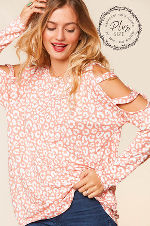 Plus Blush Animal Print Cut Out Cold Shoulder Raglan Blouse