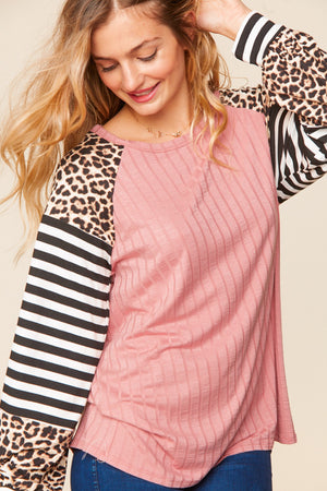 Dusty Rose Taupe & Black Rib Stripe Animal Print Raglan Blouse