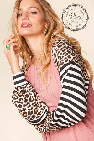 Plus Dusty Rose Taupe & Black Rib Stripe Animal Print Raglan Blouse