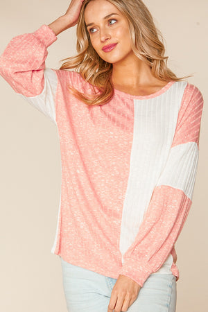 Peach & Off Ivory Two Tone Rib Color Block Blouse