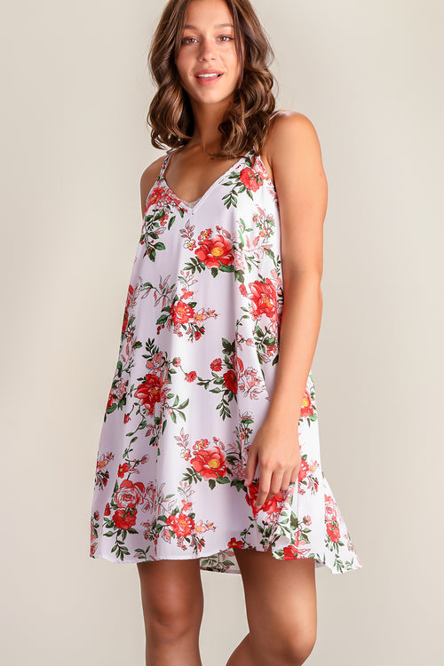 Ivory Floral Printed Pocketed Dress