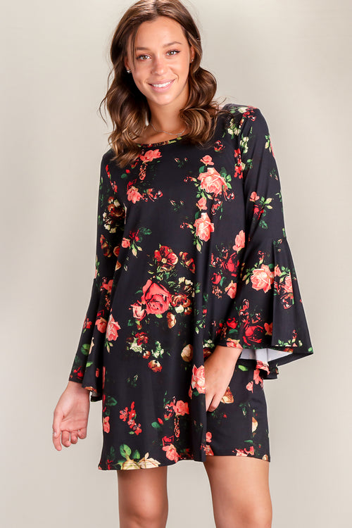 Dark Navy Floral Bell Sleeve Dress