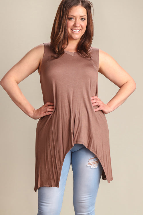 Plus Brown Rose V-Neck Tunic