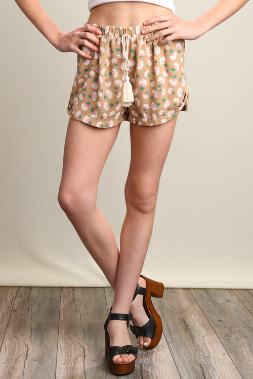 Taupe Floral Lined Shorts