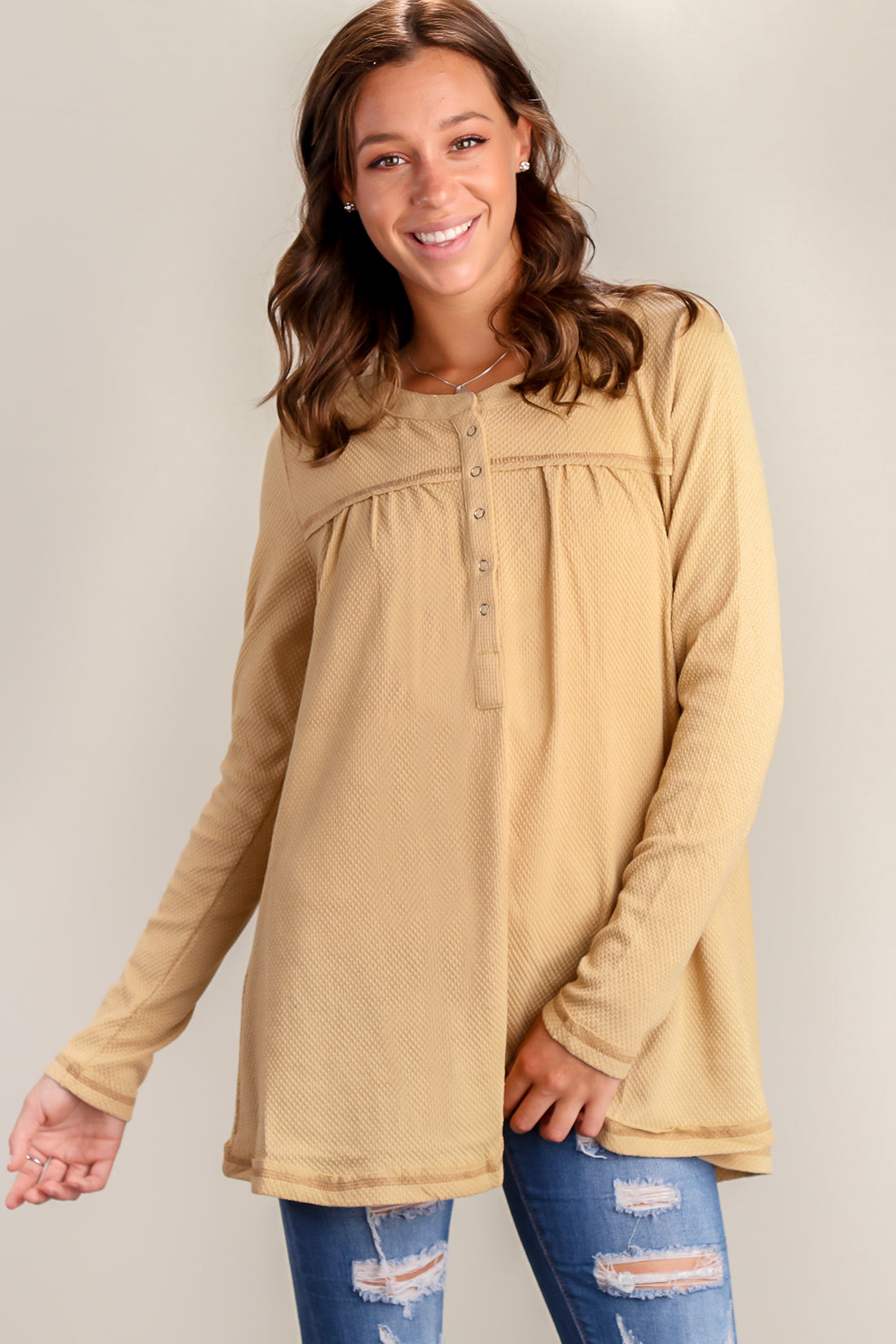 Taupe Thermal Henley Blouse
