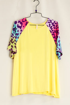 Yellow Animal Sleeve Raglan Blouse