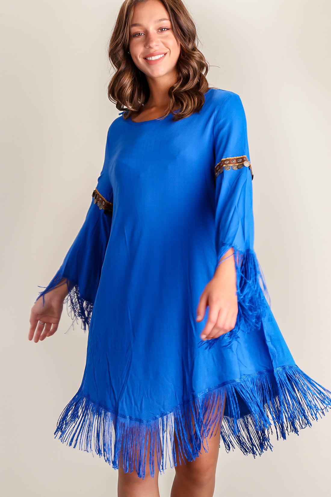 Royal Embellished Fringe Dress