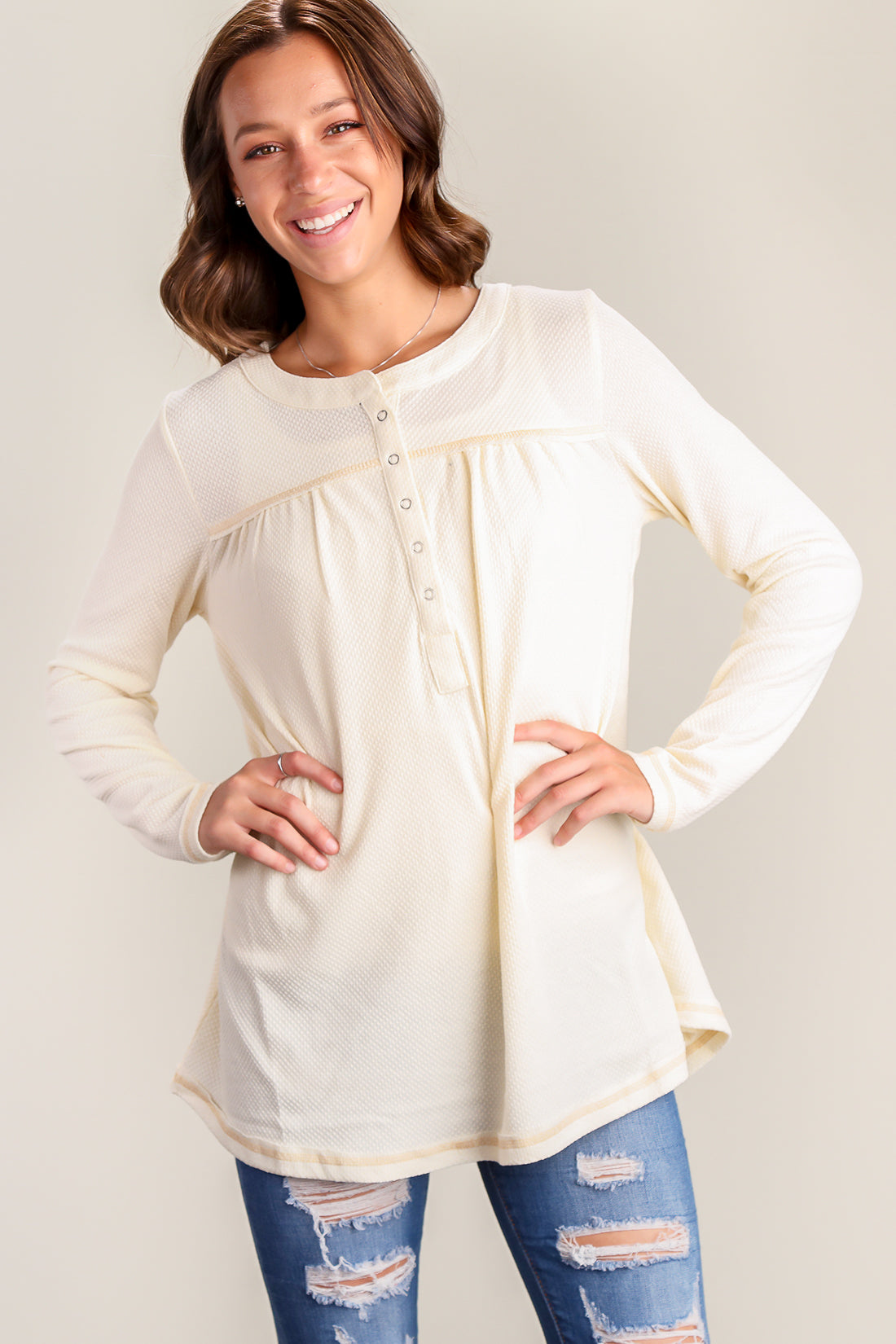 Cream Thermal Henley Blouse