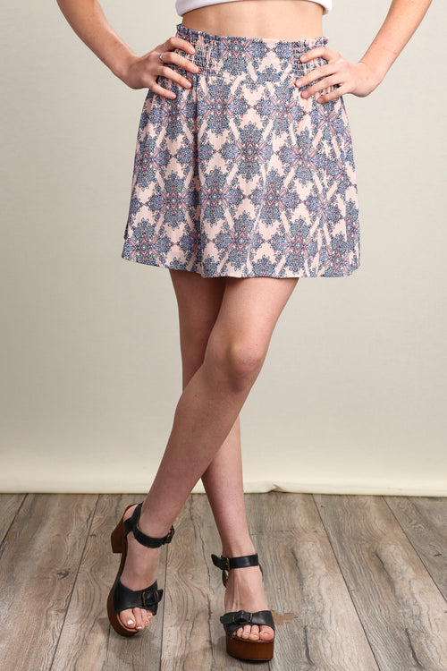 Blush Printed Mini Skirt