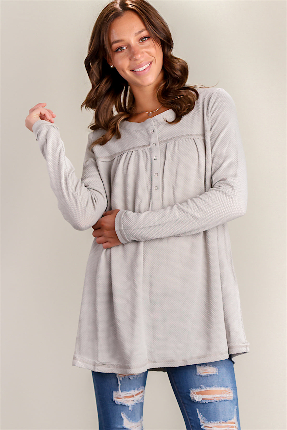 Grey Thermal Henley Blouse