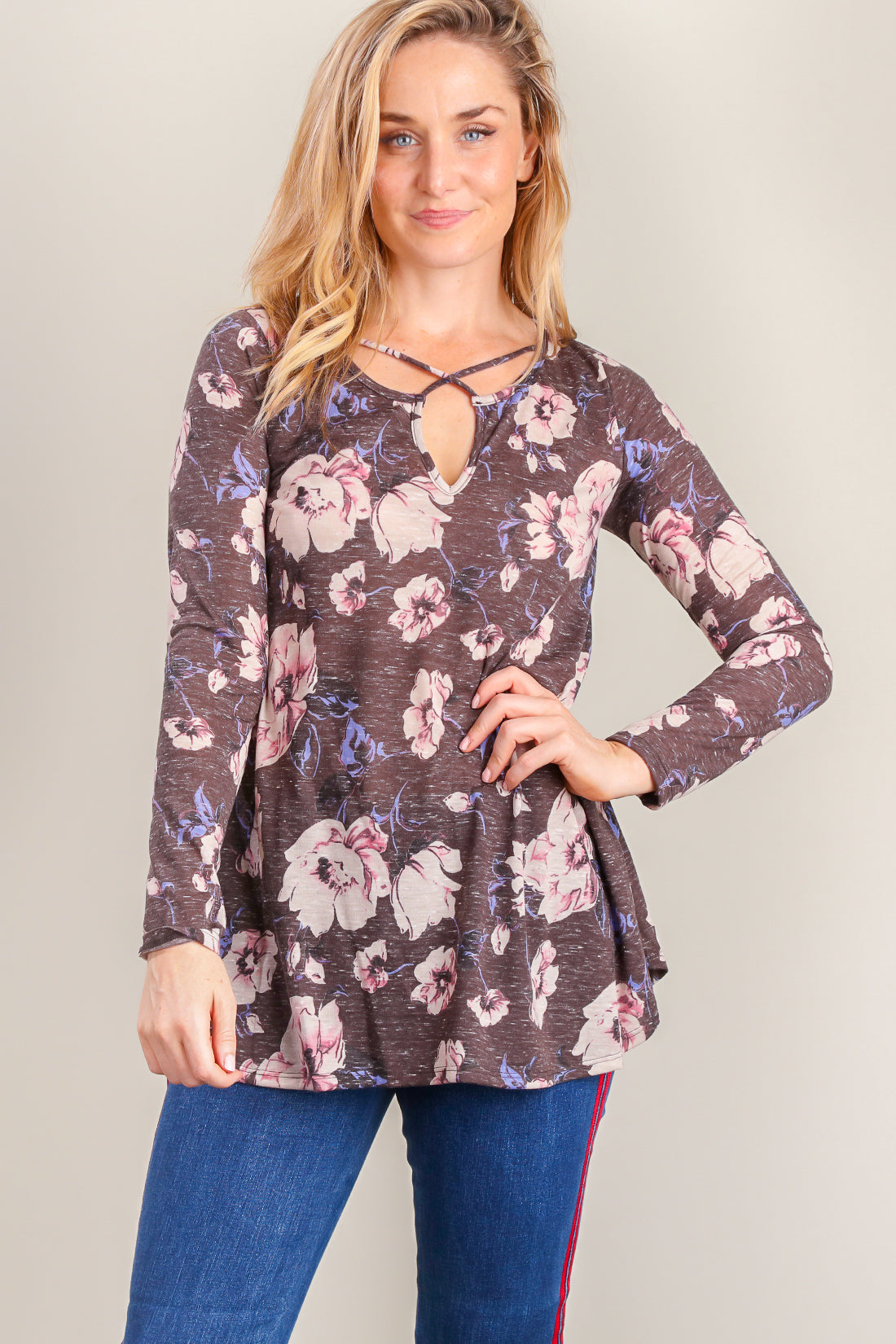 Charcoal Floral Panel Design Blouse