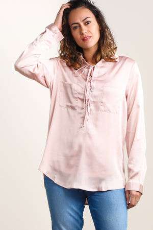 Blush Silky Lace Up Blouse