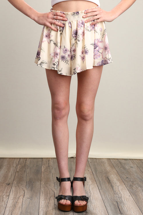 Natural Floral Printed Lined Shorts