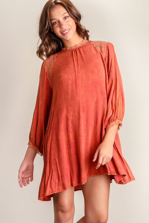 Orange Washed Crochet Dress