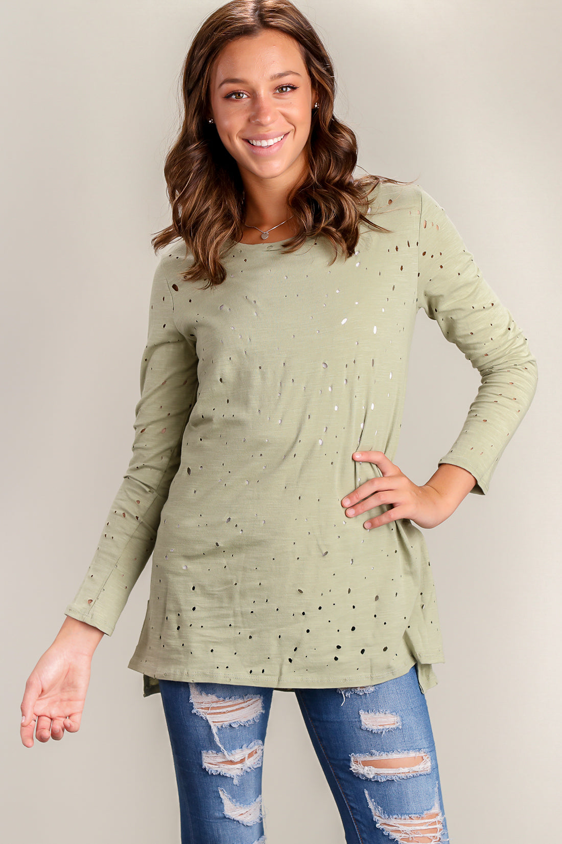 Green Hole Punch Blouse