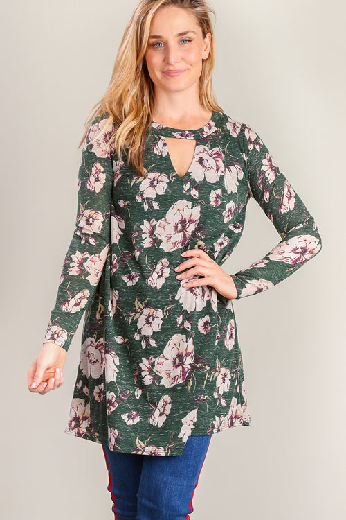 Hunter Green Floral Dress
