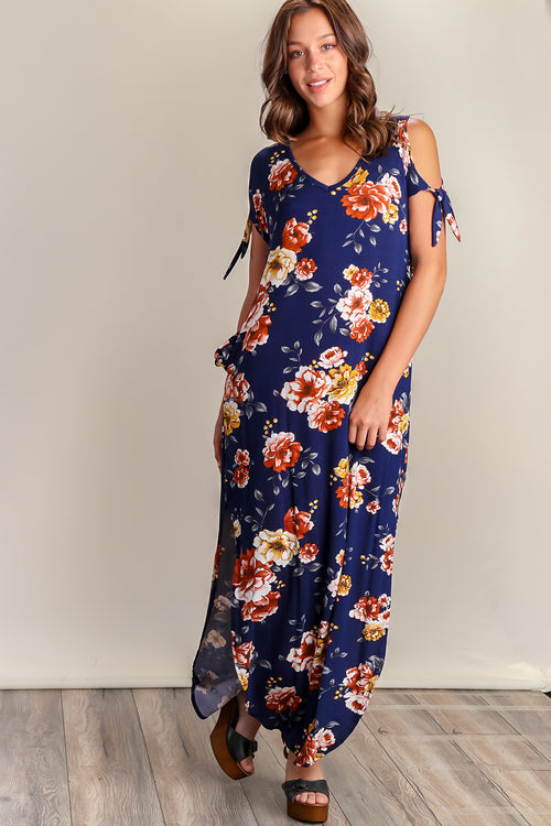 Navy Floral Cold Shoulder Pocket Maxi Dress
