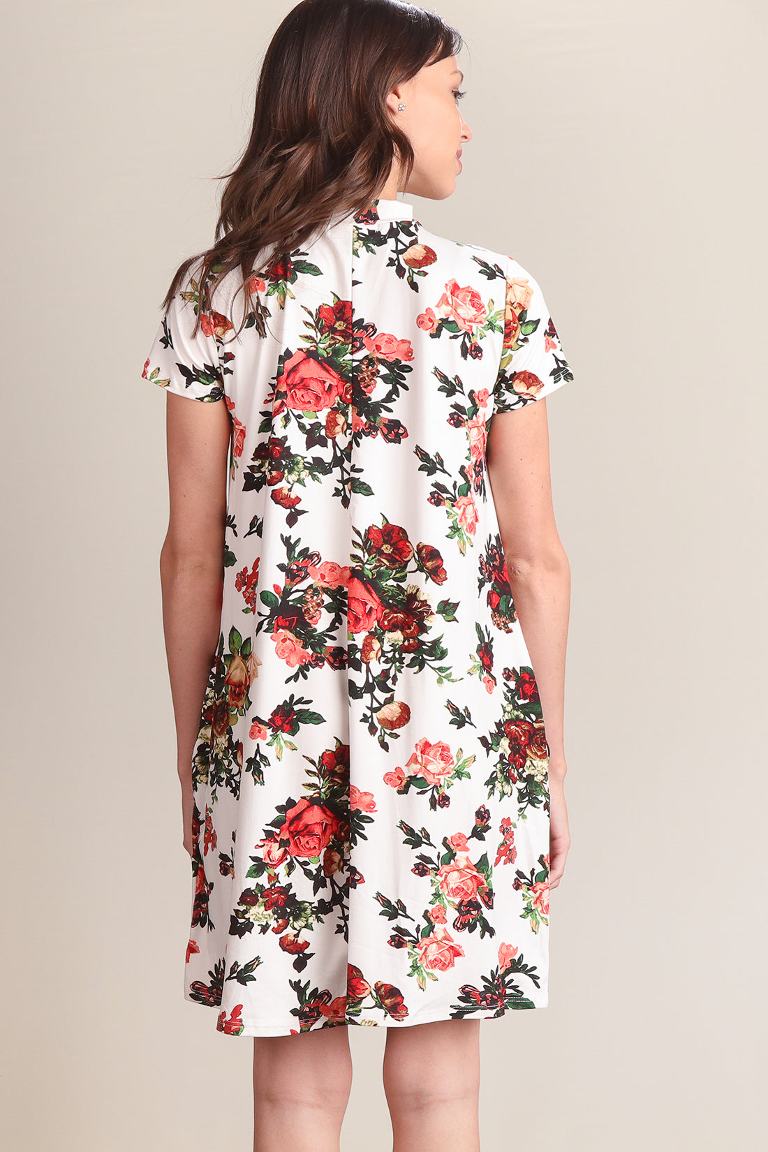 Ivory Floral S/L Choker Pocketed Dress