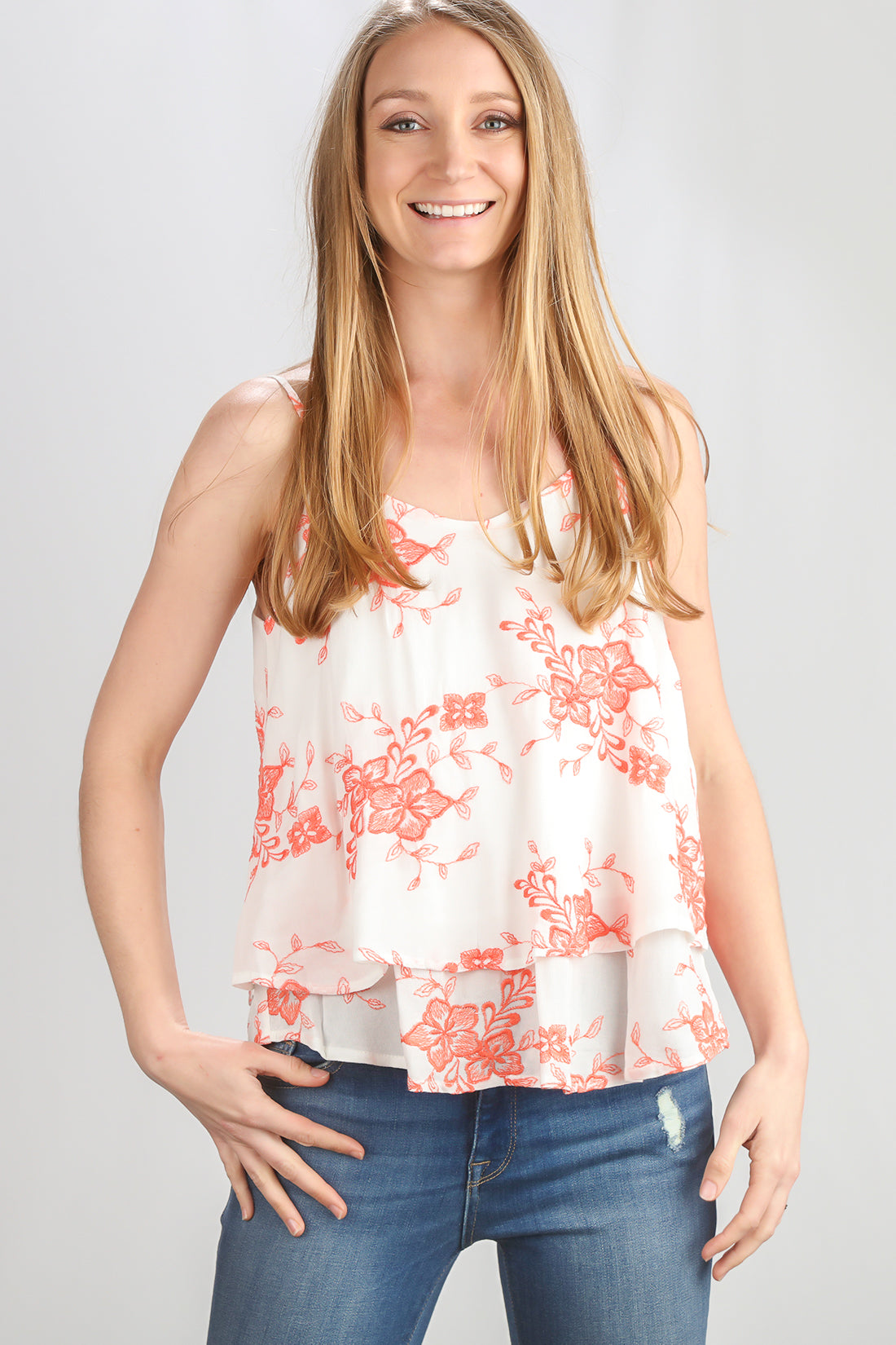 Ivory Floral Embroidered Tank