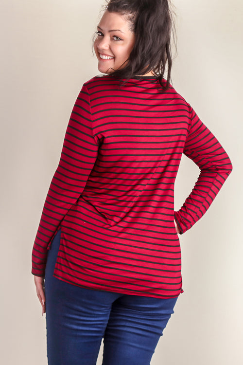 Plus Maroon Stripe Blouse