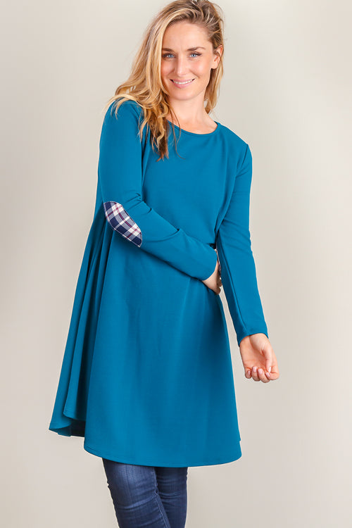 Teal Plaid Elbow Patch Dress