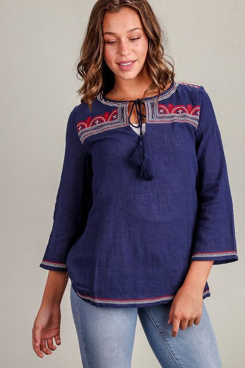 Navy Embroidered Blouse