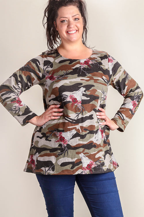 Plus Camo Bull Head Elbow Patch Blouse