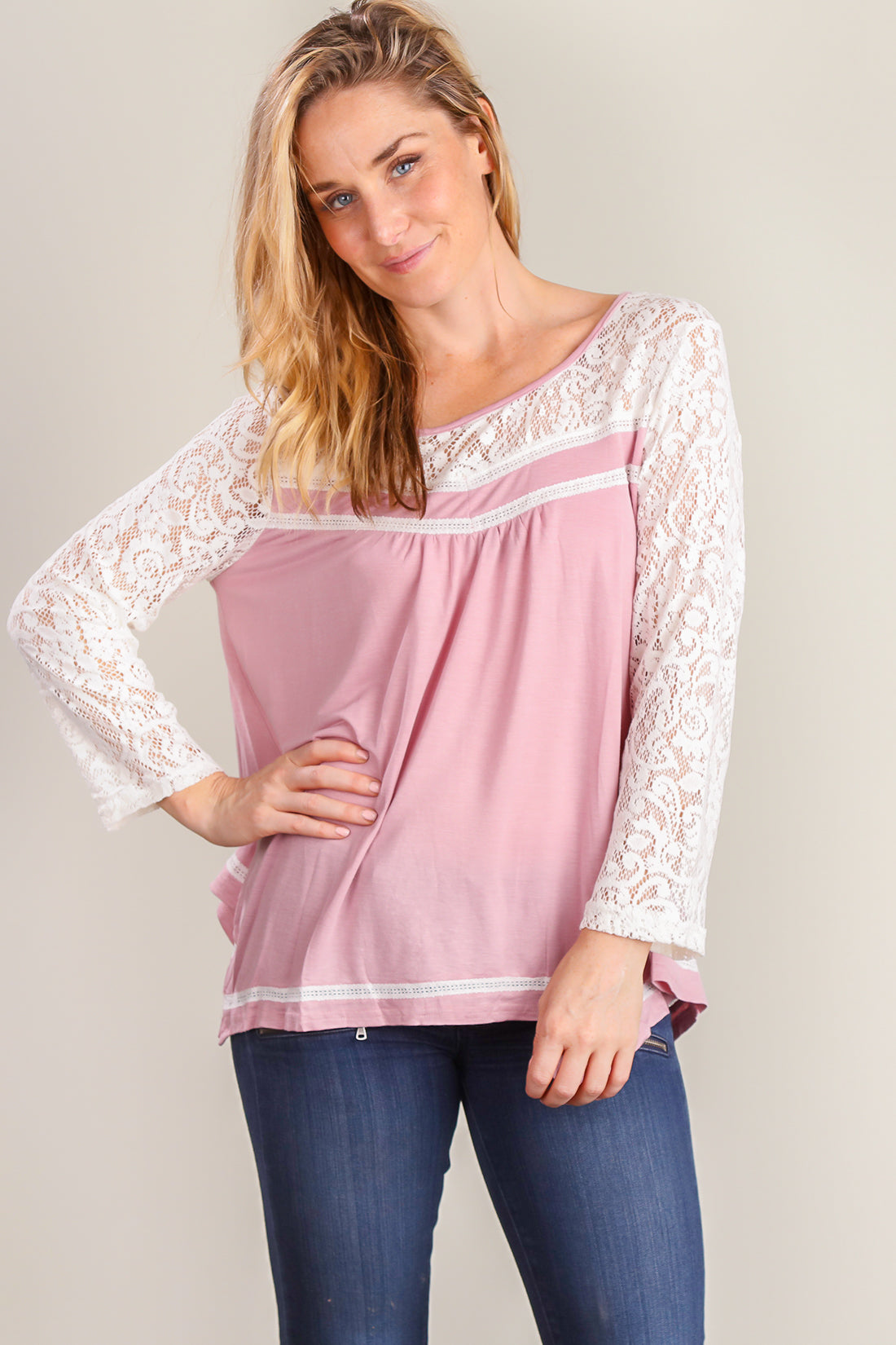 Pink Crochet Sleeve Blouse