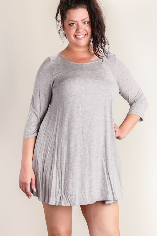Plus Grey Pocketed Dress