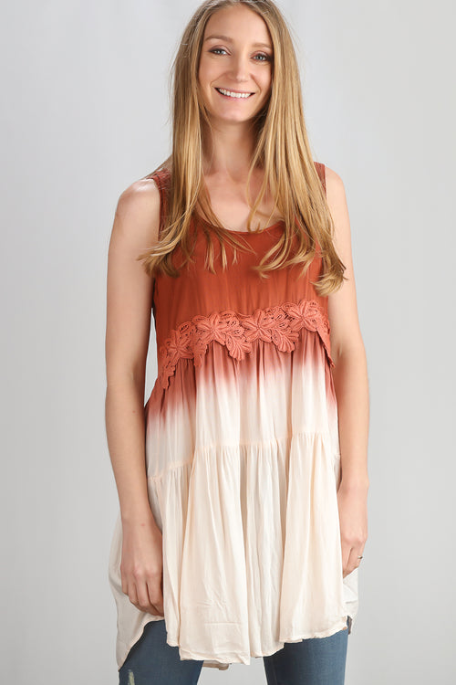 Rust Ombre Crochet Embellished Tunic