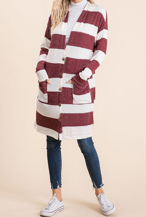 Burgundy Stripe Button Cardigan (50% Off Defective Stripe)