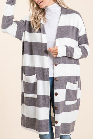 Charcoal Stripe Button Cardigan (50% Off Defective Stripe)