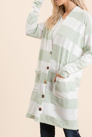 Sage Stripe Button Cardigan (50% Off Defective Stripe)