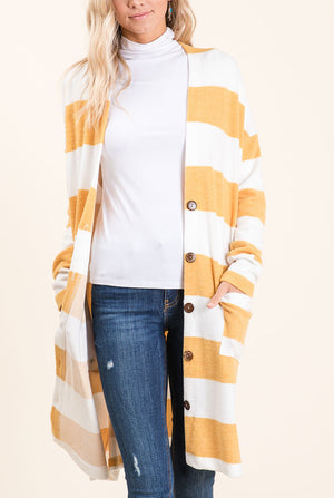 Mustard Stripe Button Cardigan (50% Off Defective Stripe)