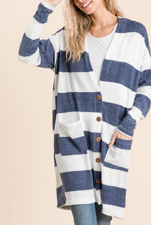 Navy Stripe Button Cardigan (50% Off Defective Stripe)
